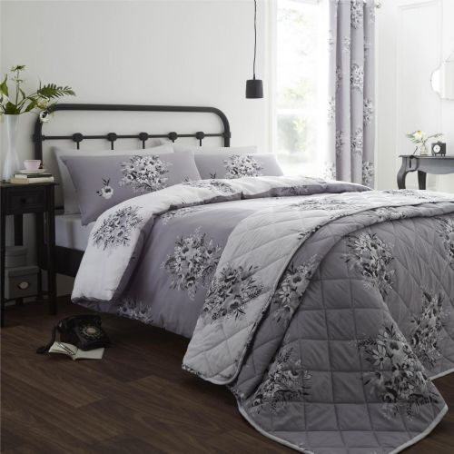 Catherine Lansfield Floral Bouquet Grey Bedding Set